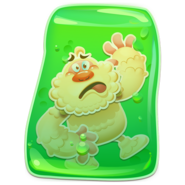 Yeti stuck in green jelly