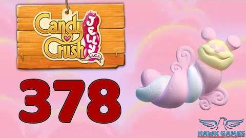 Candy Crush Jelly Saga Level 378 Hard (Puffler mode) - 3 Stars Walkthrough, No Boosters