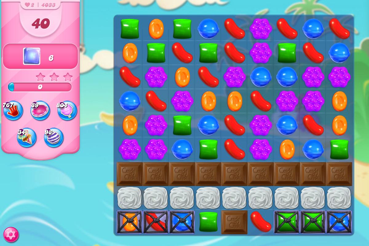 Candy Crush Saga là trò chơi hấp dẫn dành cho thiết bị Android, iPhone, iPad và mạng xã hội Facebook. Đây là một biến thể của thể loại game Match 3 giống như Bejeweled nhưng có bố cục đẹp mắt và nhiều thử thách khó khăn hơn. Mỗi hàng sẽ có một mạng lưới chứa từ 3...