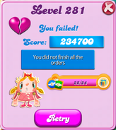 Level 281 failed but sugar drop candies are kept