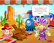 The bubblegum troll blocked the train tracks with chocolate