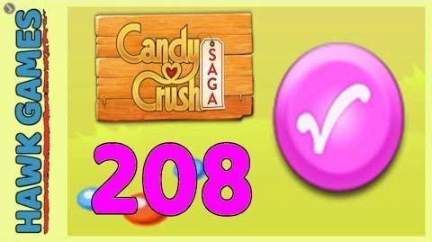 Candy Crush Saga Level 208 Hard (Candy Order level) - 3 Stars Walkthrough, No Boosters-0