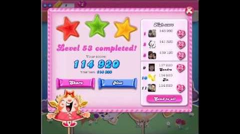 Candy Crush Saga Level 53 ★★★ NO BOOSTER - 4 Move completed !!