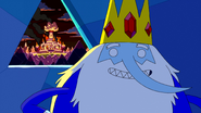 S5e24 Ice King with back to burning Candy Kingdom