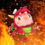 Tiffi the Dragon with fire