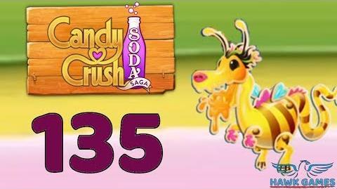 Candy Crush Soda Saga 🍾 Level 135 Hard (Honey mode) - 3 Stars Walkthrough, No Boosters
