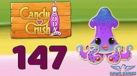 Candy Crush Soda Saga 🍾 Level 147 Hard (Soda mode) - 3 Stars Walkthrough, No Boosters