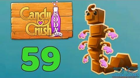 Candy Crush Soda Saga Level 59 (Chocolate mode) - 3 Stars Walkthrough, No Boosters
