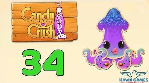 Candy Crush Soda Saga Level 34 (Bubble mode) - 3 Stars Walkthrough, No Boosters
