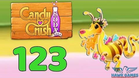 Candy Crush Soda Saga 🍾 Level 123 (Honey mode) - 3 Stars Walkthrough, No Boosters