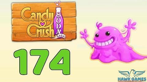Candy Crush Soda Saga 🍾 Level 174 (Bubble Gum mode) - 3 Stars Walkthrough, No Boosters