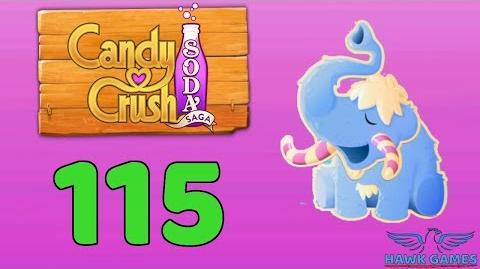 Candy Crush Soda Saga 🍾 Level 115 (Frosting mode) - 3 Stars Walkthrough, No Boosters