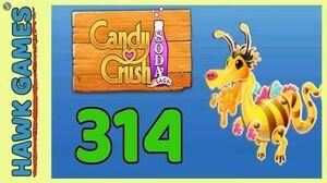 Candy Crush Soda Saga Level 314 (Honey mode) - 3 Stars Walkthrough, No Boosters