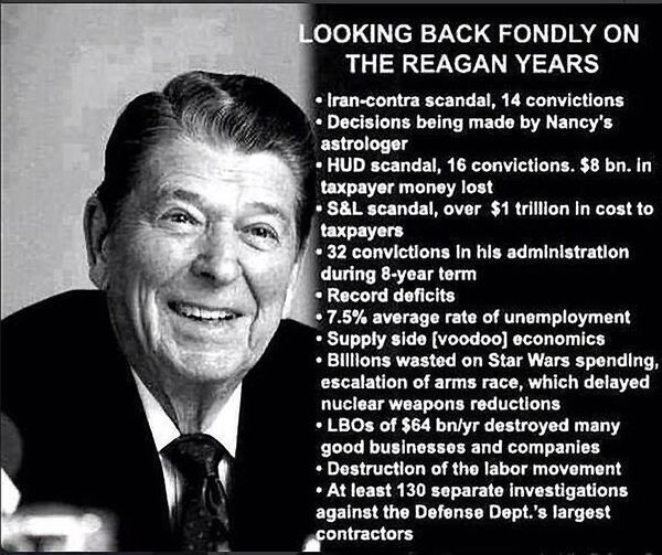 Looking back fondly on the Reagan years
