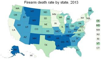 Firearm death rates by state, 2013