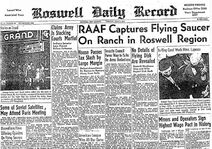 Roswell Daily Record. July 8, 1947. RAAF Captures Flying Saucer On Ranch in Roswell Region