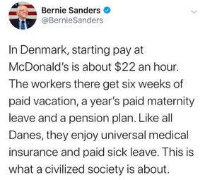 In Denmark starting pay at McDonald's is about $22 an hour