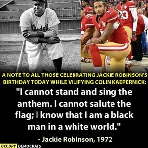Jackie Robinson 1972 autobiography. I cannot stand and sing the anthem
