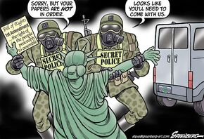 Lady Liberty. Your papers are not in order. You'll need to come with us