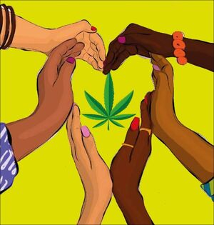 Cannabis heart hands