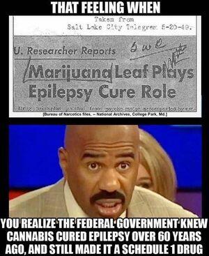 Marijuana leaf plays epilepsy cure role. Salt Lake City Telegram, May 20, 1949.