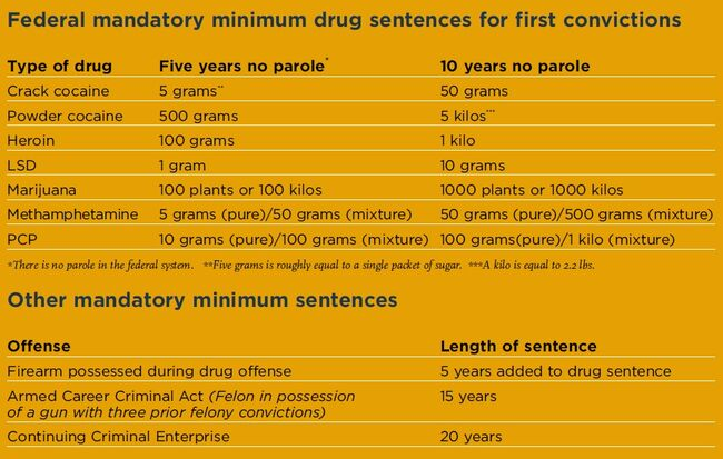 Federal mandatory minimum drug sentences