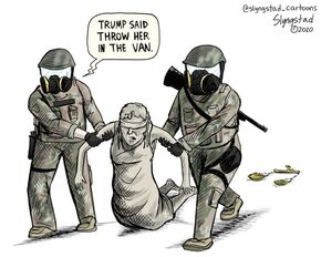 Trump said throw her in the van. The Scales of Justice