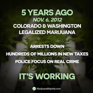 5 years ago, November 6, 2012, Colorado and Washington legalized marijuana