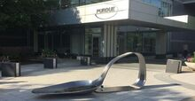 Drug spoon sculpture at Purdue Pharma on 22 June 2018