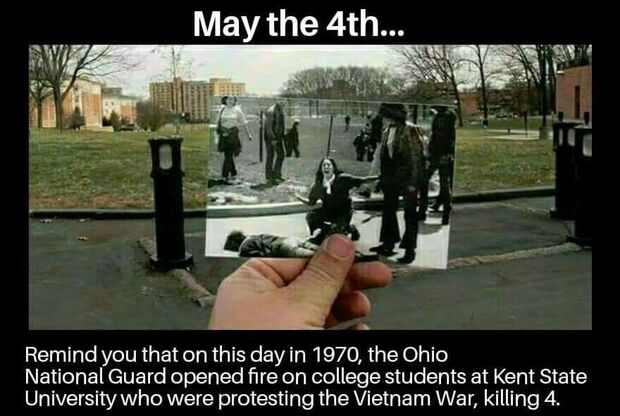 May the 4th, 1970 at Kent State University in Ohio