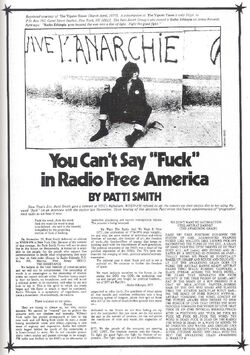 Patti Smith 1977 You Can't Say Fuck in Radio Free America