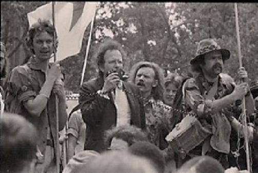 New York City, Central Park 1978 L-R. Stephen DeAngelo, AJ Weberman, Dana Beal, Aron Kay