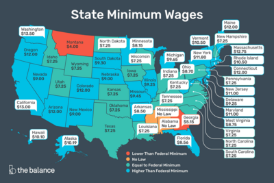 2020 US minimum wage map