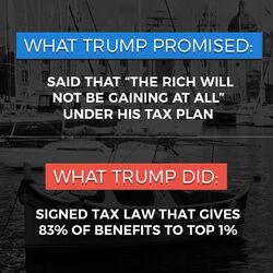 Trump signed tax law that gave 83% of benefits to the top 1%
