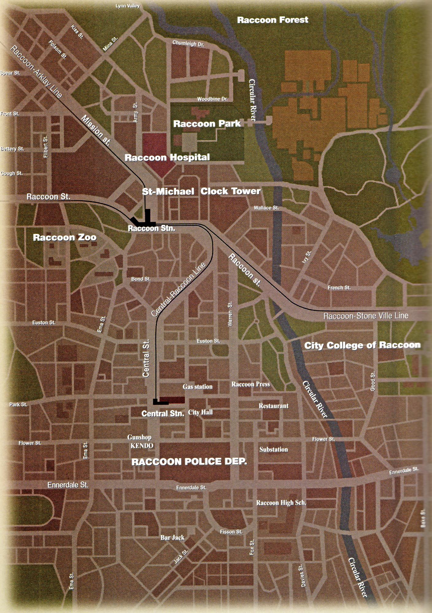 Raccoon City Map Raccoon City | CapDatabase | FANDOM powered by Wikia