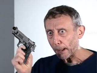 Michael Rosen with an Italian pistol