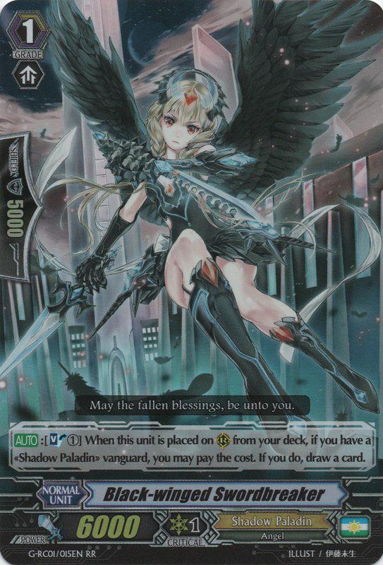 G-RC01//015EN RR BLACK-WINGED SWORDBREAKER CARDFIGHT VANGUARD CARD