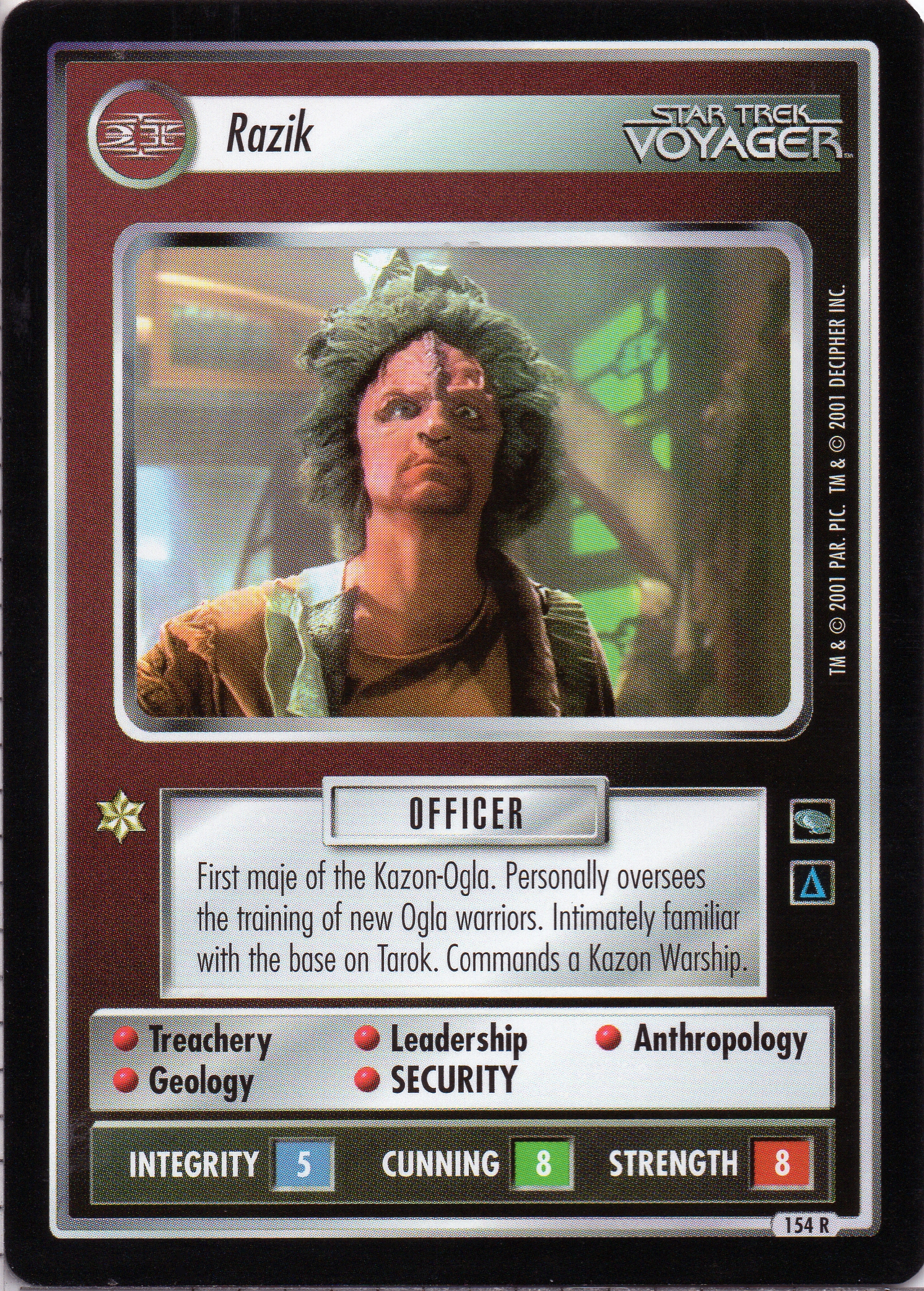 STAR TREK CCG VOYAGER RARE CARD KAZON WARSHIP