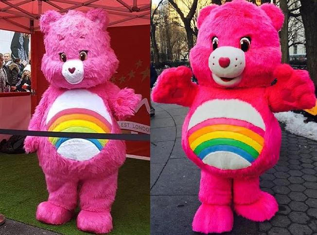 Left Cheer Bear Mascot At London Parade 2016 Right In New York 2017