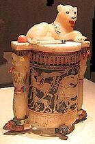 Lioness Bast cosmetic jar 83d40m tut burial artifact