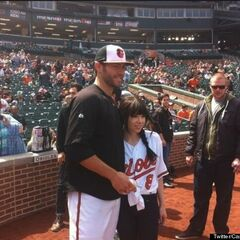 Carly with the Orioles' Jake Arrieta