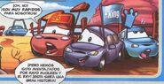 Timothy Twostroke, Matthew True Blue McCrew, Polly Puddlejumper. Cars Magazine N·23, comic 3.