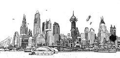 Gotham skyline BW
