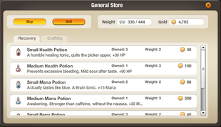 Interface - Potion Store