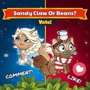 Sandy Claws v Beans Purrismas Outfit