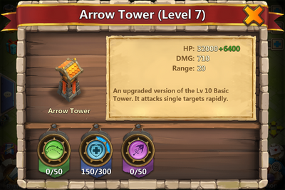 Arrow Tower damage display
