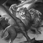Monster demon chimera of fire dead