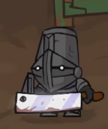 Regular Stove Face wielding a Butcher Knife