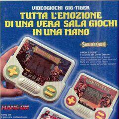 |Volante publicitario de videojuegos Tiger LCD para Italia.