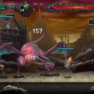 Cuatro personajes combatiendo un Wyvern en el modo Boss Rush.